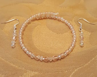 Pink memory wire wrap bracelet and earring set