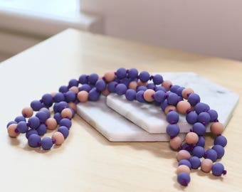 Handmade Calming Beads . Periwinkle and Blush
