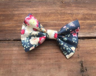 Hair clip, floral hair clip, autumn hair clip, fabric bow, fabric hair clip, dark blue, baby bow, baby chair clip