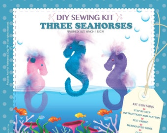 DIY Craft Hand Made Sewing Kit Three Seahorses Unique Gift & Family Time