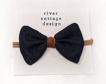 Denim bow headband or clip / babybow