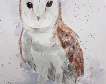 "Original Watercolour ""Ollie the Owl"" Wildlife, Painting, Barn Owl, A3"
