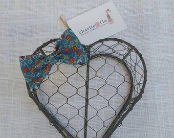 Blue Oriental Flower Fabric Hair Bow