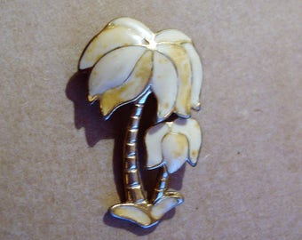 Vintage Enamel and Gold Tone Metal Palm Tree Brooch Desert Island Summer