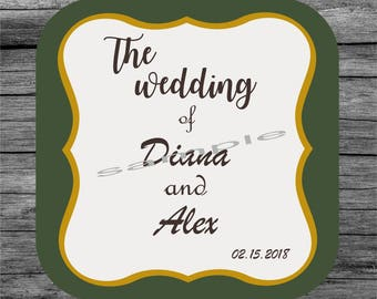 20 Wedding coaster, Bridal gifts, Personalized coaster, Custom coaster,Drink coaster, Mug coaster, Wedding gifts
