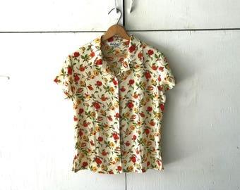 1980's Floral Pak Lai Blouse Size Medium   Vintage Print Blouse   Vintage 80s Shirt   Floral Print Top   Short Sleeve Button Up