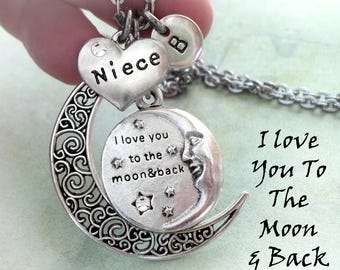 Niece, I Love You To The Moon And Back Necklace, Initial, All Sizes, Girls, Teens Women, Pretty, Elegant Jewelry, Best Birthday Gift