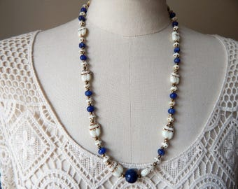 Neiger Brothers' Egyptian Revival Glass Vintage Scarab Beads Necklace with Carved Sapphires