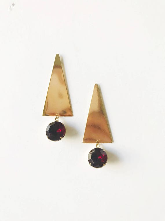 Triangle Gemstone Post Earrings