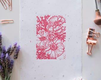 Pink Ranunculus on Handmade Recylced Paper