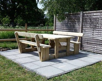 Garden Picnic Table / Bench Set with Back Rests (Various Sizes Available)
