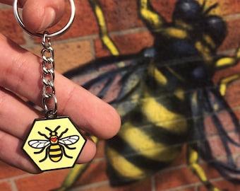 Manchester Worker Bee (Love) Enamel Keyring