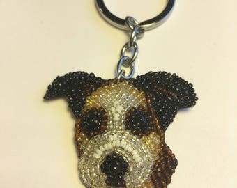 Beaded Boxer / dog keychain.