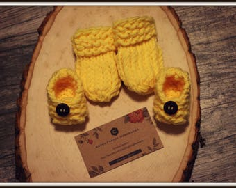 Yellow Knit Mitten and Booties Set for Newborn