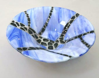 Large glass bowl ,fused glass bowl, fruit bowl, salad bowl, blue bowl, centrepiece,  home decor, table art, glass art