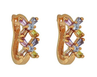 14k Gold Filled Earring with X-Shaped multicolored crystal stones design