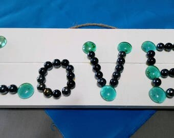 Love Wood Sign with Gems