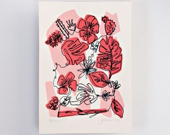 Botanic #1 Limited Edition Screen Print, Line Drawing, Hand Printed, Fashion Illustration, Fashion Wall Art, Floral Print, Floral Art