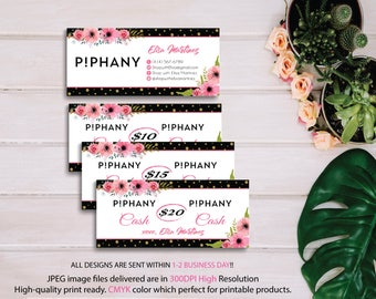 Piphany Cash Card, Piphany Money Cash, Custom Piphany Cash Discount, Piphany markting, Floral Flower, Printable Card - Digital file PP07