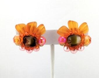 West German Bead Cluster Earrings, Fan Pattern, Orange and Brown, Clip On, Vintage, 1960s