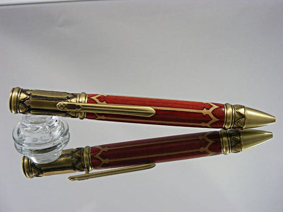 Ink Pen in Venetian Gothic Style, Antique Brass and Venetian Inlay