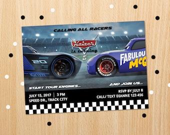 Personalized Cars 3 Fabulous Lightning Mcqueen Vs Jackson Storm Birthday Party Invitation Race Car Racing Invite Printable - Digital File