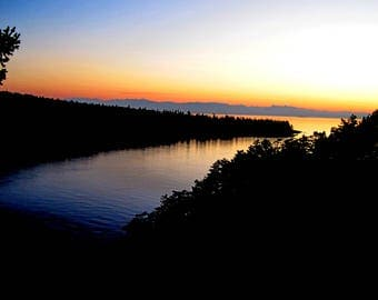 Deception Pass Sunset Note Card - 1, 5, 10 or 20 Card Pack