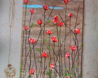 Wildflowers on barn wood/Original painting by me/landscape/rustic/farmhouse/shabby chic/natural/wall art