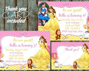 Belle Invitation, Princess Belle Invitation, Beauty and the Beast Birthday Party, Belle Printable Invitation, Belle Thank you card