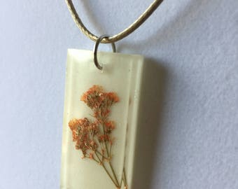 Rectangular Resin Necklace with Orange Baby's Breath