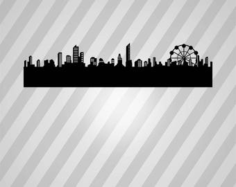 Generic Cityscape Skyline - Svg Dxf Eps Silhouette Rld Rdworks Pdf Png Ai Files Digital Cut Vector File Svg File Cricut Laser Cut
