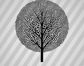 Black Hearts Tree - Svg Dxf Eps Silhouette Rld Rdworks Pdf Png Ai Files Digital Cut Vector File Svg File Cricut Laser Cut