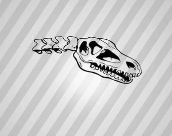 Dinosaur Skull Silhouette -  Svg Dxf Eps Rld Rdworks Pdf Png Ai Files Digital Cut Vector File Svg File Cricut Laser Cut