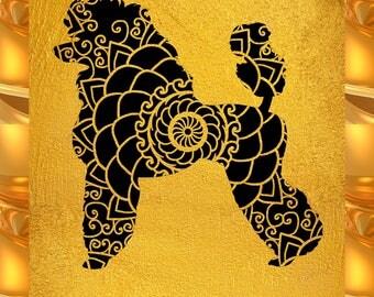 Poodle Papercut Template Mandala Henna - Svg Paper Cut Templates Stencil Line Art Pdf Cut Files Digital Clip Art Drawing