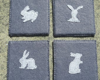 Felt (30% Wool)Rabbit Design Coasters - Set of 4