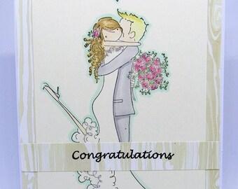 Handmade Wedding Card - Anniversary Card - Congratulations Card - WoodgrainCard - Bride and Groom Card - Homemade Card