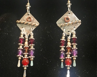 """Sterling silver multi stone danglies with gold and copper accents, carnelian, amethyst and swarovski crystal beads. 2 1/4"""" long."""