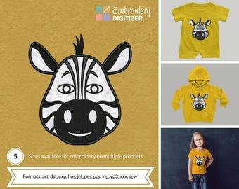 Zebra Head Applique Embroidery Design