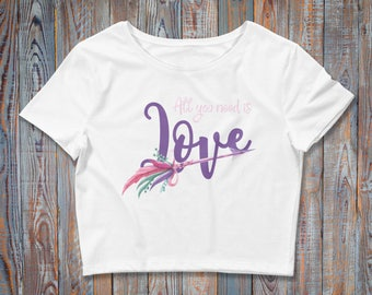 All You Need Is Love / Boho Chic Women's Crop Top