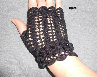 black Laces crochet fingerless gloves
