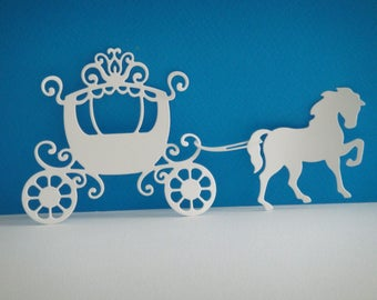 Cut out carriage and her horse foam white for your creations