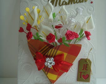 "Double white embossed hearts ""Happy mother's day"" theme madras make you even card Kit"