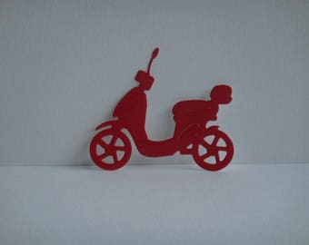 Cut scooter in red gloss vinyl for scrapbooking and card paper