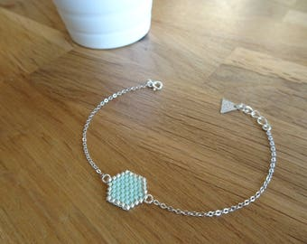 Bracelet fine silver chain and Miyuki beads