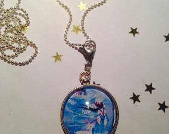 "Pendant and necklace mesh ball ""Chinoiserie blue"" cabochon"