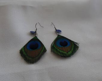 Earrings genuine Peacock green, blue, brown feathers.