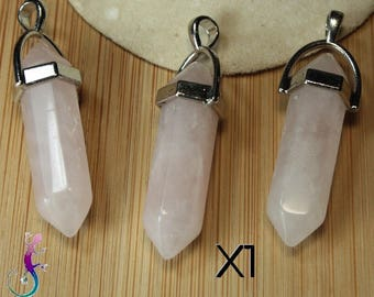Pink quartz stone pendant shaped Crystal with silver setting A177