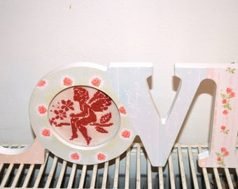 """""""LOVE"""" decor frame with embroidered Angel"""