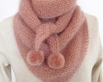Pink mohair shawl with a hint of gold