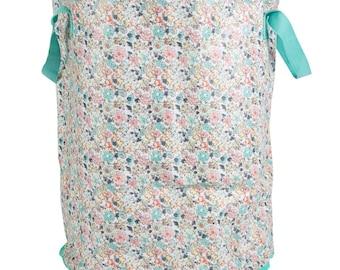 storage bag in linen, flowers, 50 cm
